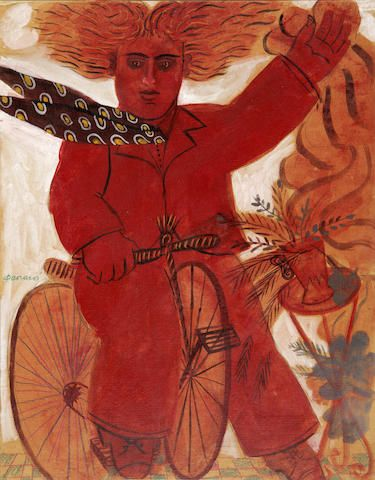 Alecos Fassianos (Greek, born 1935) Red cyclist 63 x 50 cm.