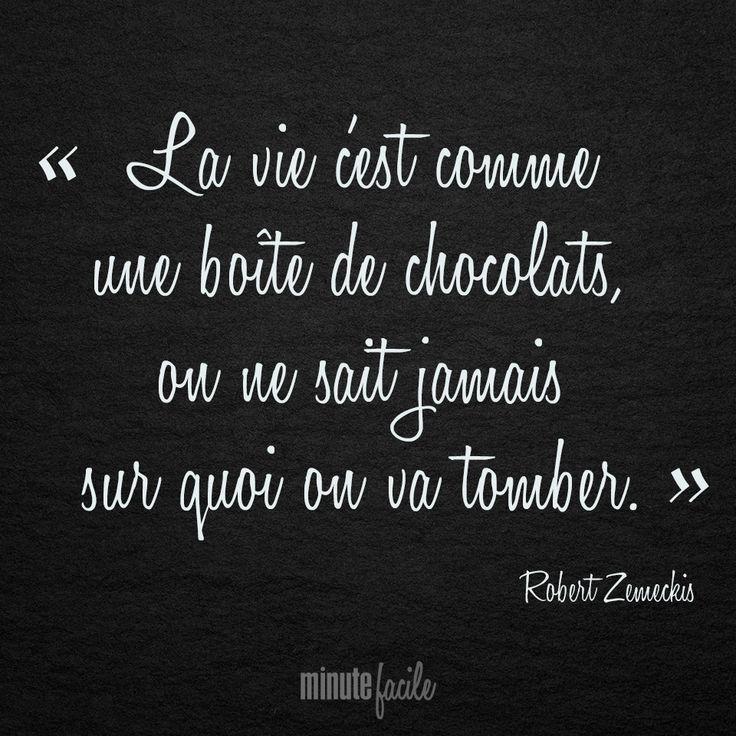 """""""La vie c'est comme une boîte de chocolats, on ne sait jamais sur quoi on va tomber."""" Robert Zemeckis #Citation #QuoteOfTheDay - Minutefacile.com"""