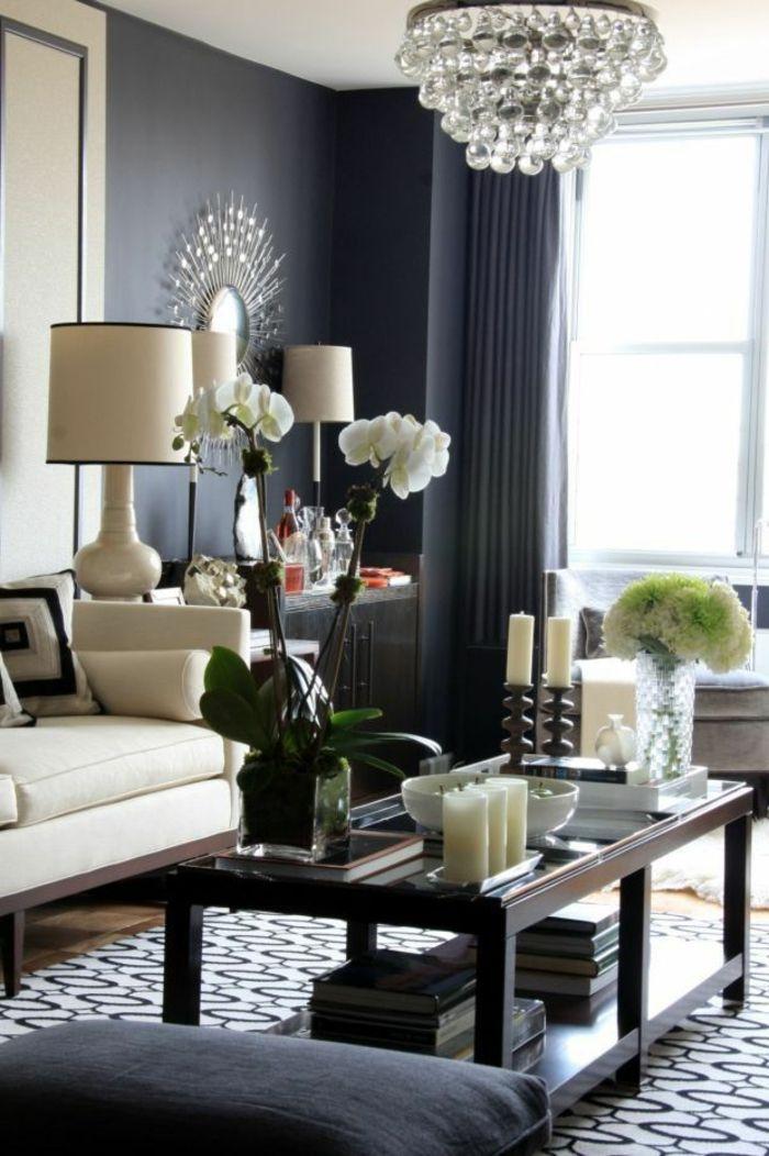 Graue Wnde Wohnzimmer Wanfarben Ideen Wohnideen W U00e4nde Teppich Orchideen