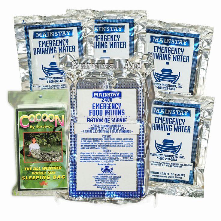 Survival Aid 3 in 1 Emergency Pack - Food/Water/Sleeping Bag - 2 Day Value Pack #Mainstay