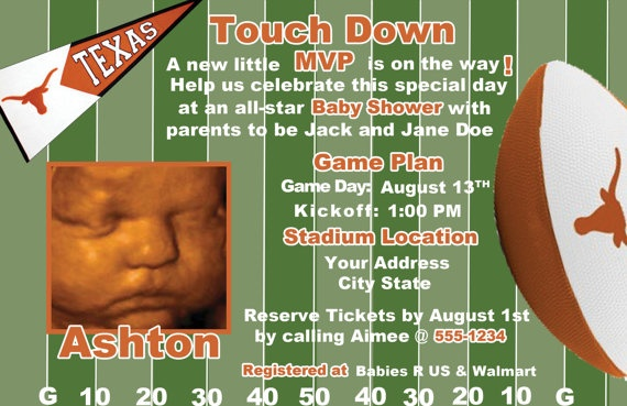 Custom Longhorn UT Football Baby Shower Invite
