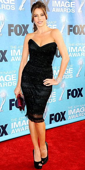 Sofia Vergara in Strapless Black Dolce & Gabbana Dress