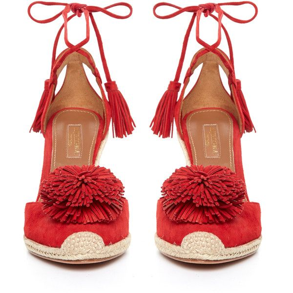 Aquazzura Sunshine suede fringed wedge sandals ($675) ❤ liked on Polyvore featuring shoes, sandals, red wedge shoes, tassel sandals, wedge heel sandals, aquazzura shoes and wedge espadrilles