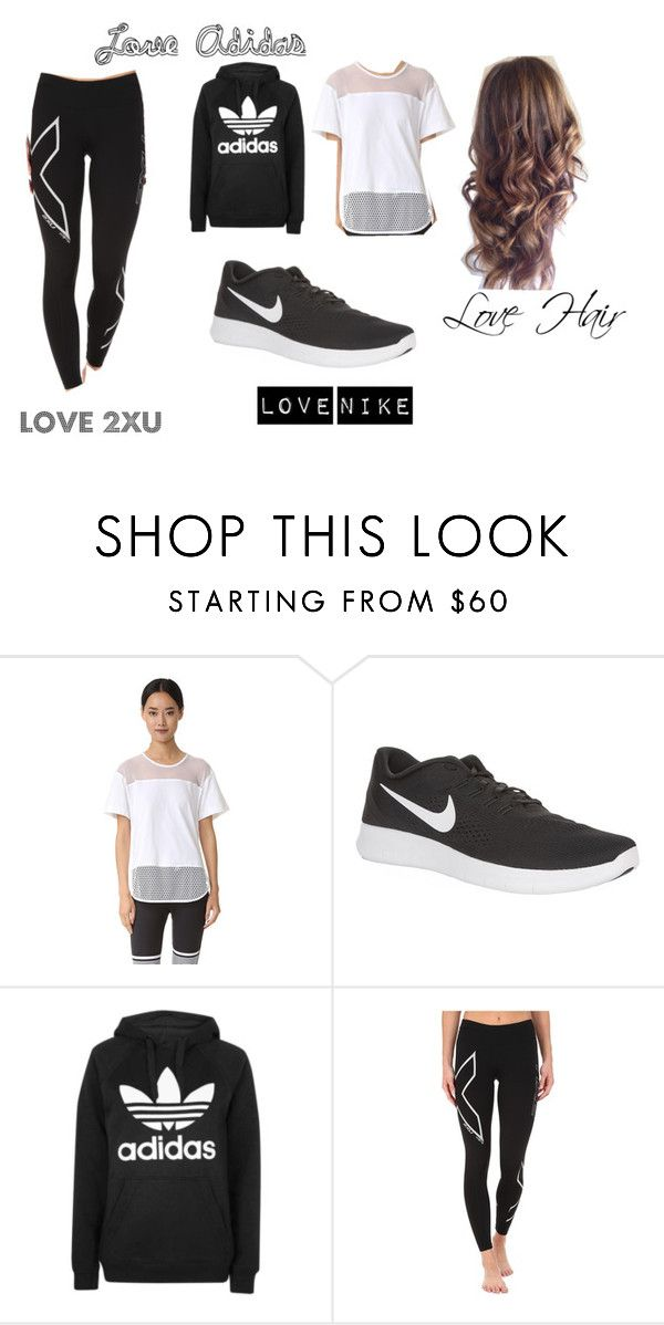 """""""Adidas, Nike, 2XU and HAIR <3"""" by alana-26 on Polyvore featuring adidas, NIKE, Topshop and 2XU"""