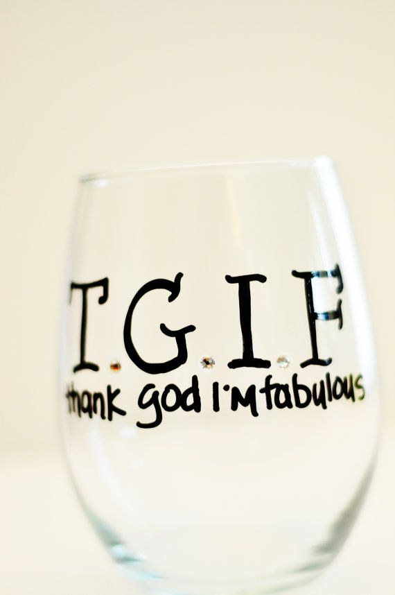 Hand painted Stemless Wine Glass - TGIF - Thank God I'm Fabulous - 21oz - Great gift idea - Swarovski Crystals