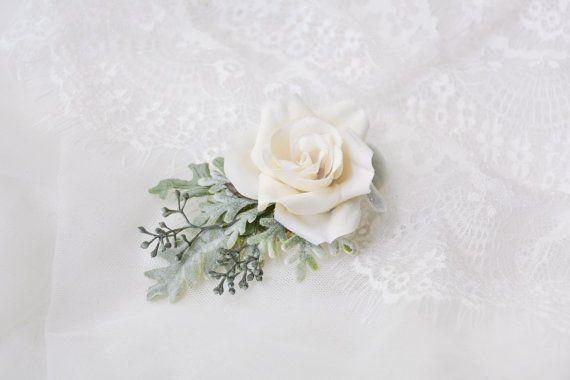 Wedding hair clip Ivory flower clip Bridal от NoonOnTheMoon
