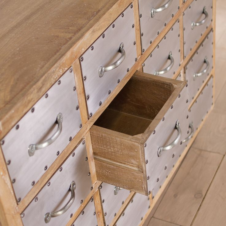 Amritsar Reclaimed Wood 14-drawer Dresser (India) | Overstock.com -- looks like apple boxes!! Love the silver plate idea.