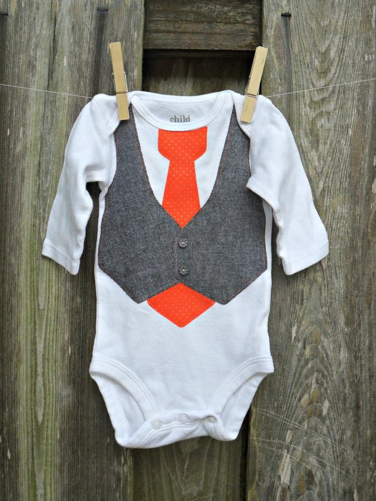 Baby Onesie With Gray Tweed Vest Amp Patterned Tie Using