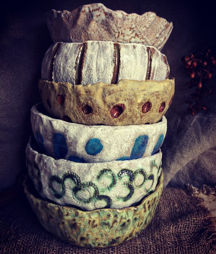 A stack of Rustic, Country Bowls!