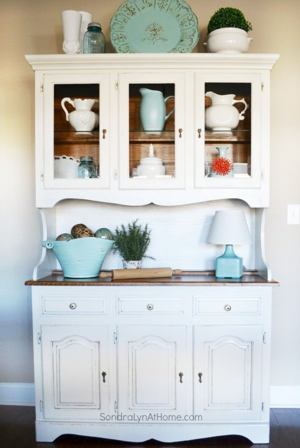 Chalk Painted Hutch     Sondra Lyn at Home w. Best 25  Refurbished hutch ideas on Pinterest   Hutch makeover