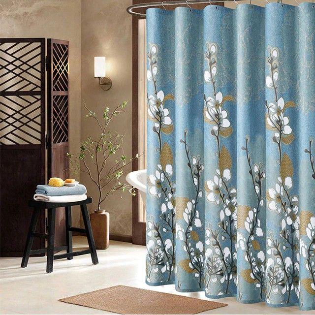 Custom Shower Curtains Orchids Flowers Elegant Blue Shower