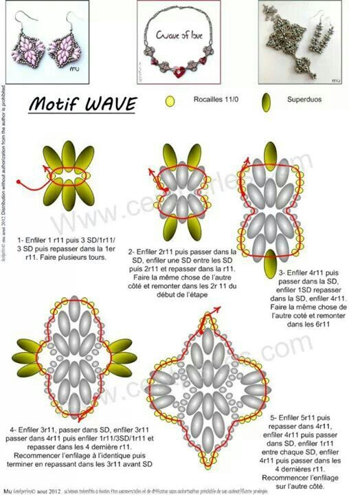 FREE Pattern for MOTIF WAVE to use for Earrings, Pendant, Bracelet or Necklace…