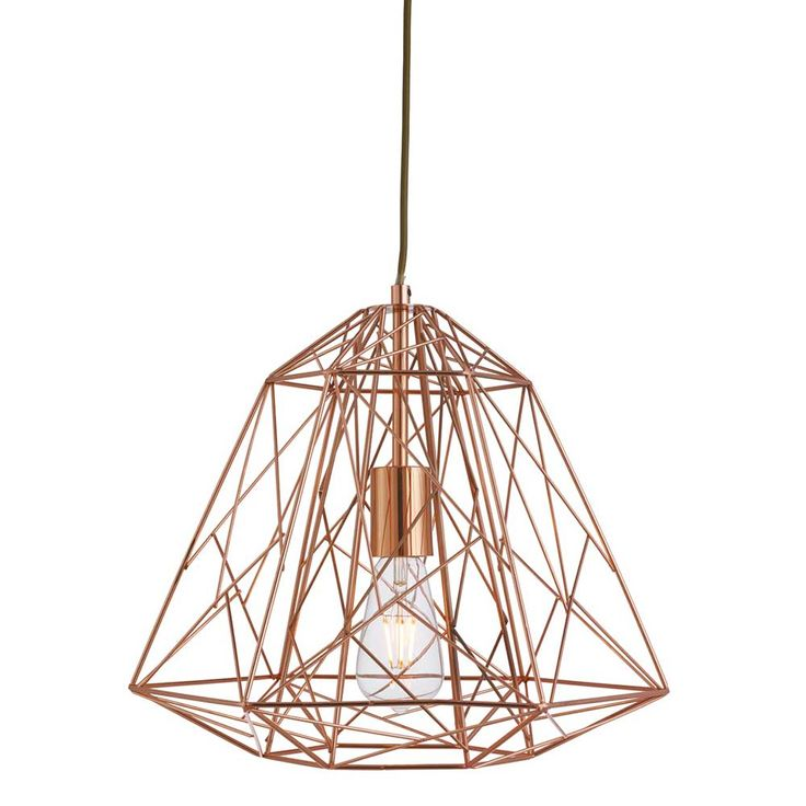 Designed to be used with a feature bulb this geometric copper pendant inspired by industry looks stunning in a contemporary living space. Use as a single light for a simple statement or in a cluster for a striking focal point.