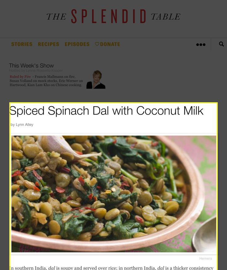 Spiced Spinach Dal with Coconut Milk | Coconut Milk, Spinach and ...