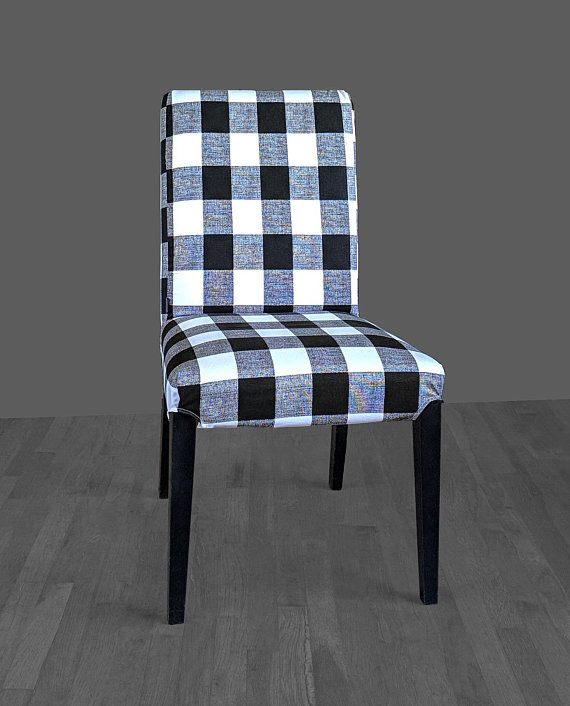 ikea dining chair covers black and white banquet hall plaid buffalo check henriksdal cover traditional style slipcover
