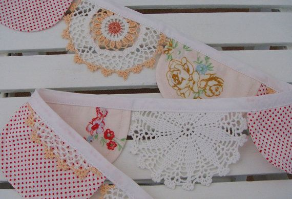 Bunting..Doilies Perfect Decor for A Shabby Chic Tea Party :) Perfect for those doillies that have stains on one side...