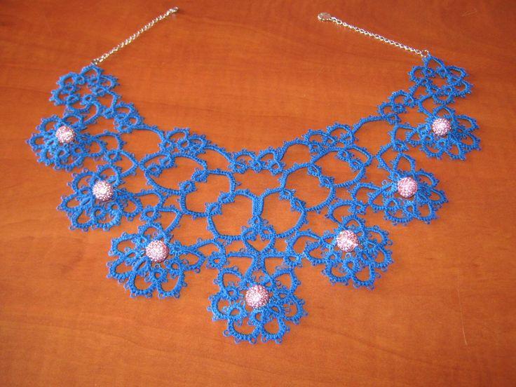 Kék frivolitás nyakék, shamballa gyöngyökkel / Shamballa beads necklace blue tatting