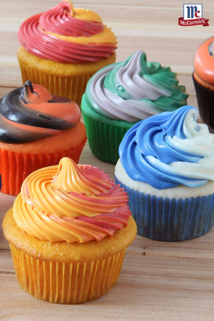 Prepare this cupcake recipe in school or team colors for school events, graduation parties or sports celebrations. See Cooking Tip for amount of food color to use to tint cake batter and twist frosting.