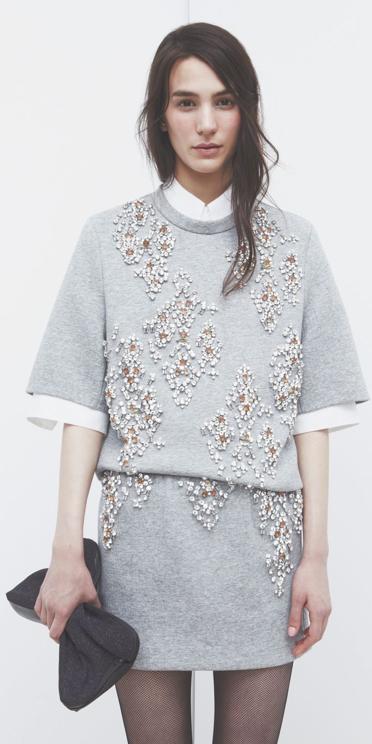 Embellished Surfaces - grey jewelled tunic & white shirt trim // outfit love #fashion #style