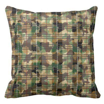 #Camouflage plaid throw pillow - customized designs custom gift ideas