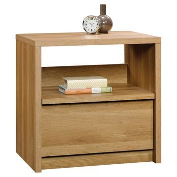 Soft Modern Night Stand with Drawer and Open Shelf - Pale Oak - Sauder