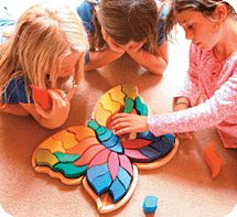 Large Butterfly Puzzle in bright, vibrant colours in natural   frame. These sturdy pieces in vibrant colours tones may also  be used in everyday block & construction play. 37 hand-painted pieces in a unique Natural wood Butterfly-shaped frame. Dimensions: H 4cm, 46cm x 33cm  Find it here -http://www.earthtoys.net/adults-grimms-puzzles.html