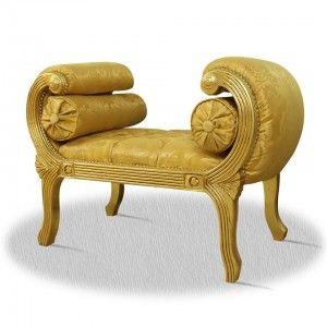 Casa Padrino Barock Schemel Gold 90 x 40 x H. 65 cm - Luxus Sitzbank – Bild