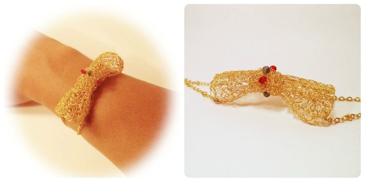 Golden Bow Bracelet by Algo Elegante #bow #bracelet #crochet #gold_plated #jewelry #fashion #women #gemstones #handmade