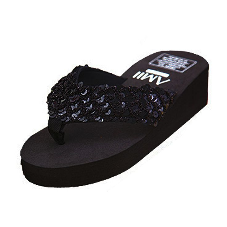 ASDS New slippers female slippers wedges platform elevator slip-resistant paillette beach flip flops black - CattleyaStore CattleyaStore