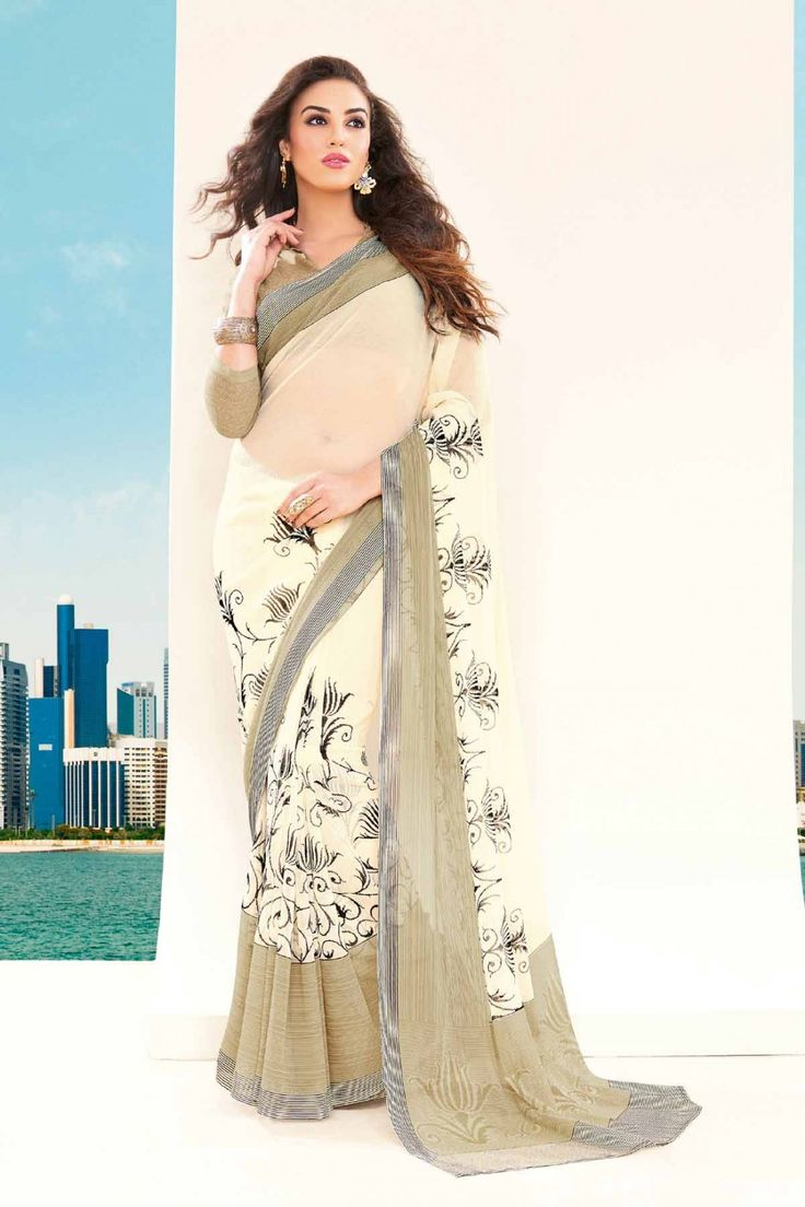Go Graceful with Chiffon Sarees Shop Now Off White @ http://zohraa.com/off-white-chiffon-saree-z2440p4252-18.html SKU: Z2440P4252-6 Rs. 1,249/-