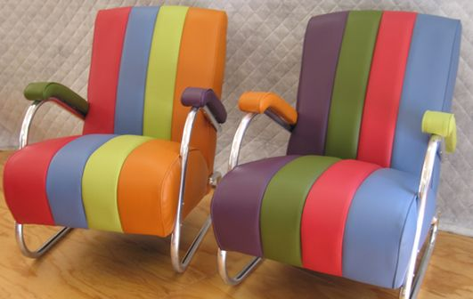 chrome pair, in different coloured vinyl - Living Room, Wellington
