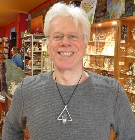 Pendant Tibetan Quartz in Equilateral Triangle | Substantial 925 Sterling Silver | Atlantean power Piece | Marc James Design | Crystal Heart Melbourne Australia since 1986