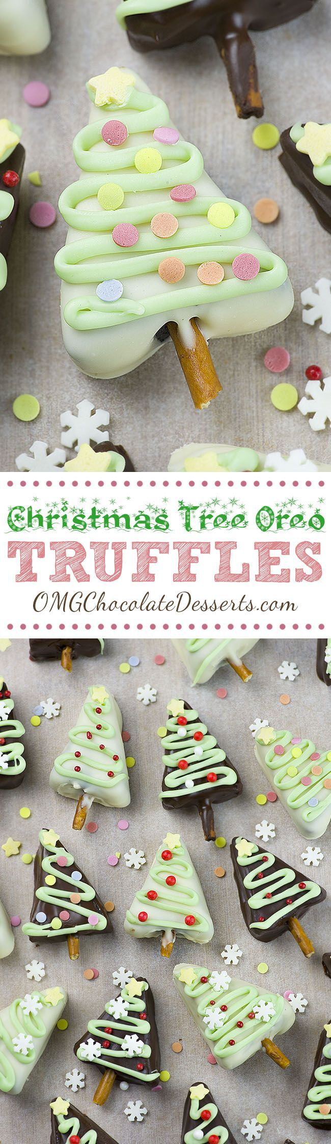 Christmas Tree Oreo Truffles are easy and fun holiday dessert recipe! Your favorite, three ingredients, Cream Cheese Oreo Truffles get festive makeover!!!