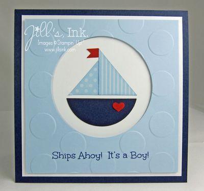 Baby Boy Shower Invitation -- Punch Art Sailboat  www.JillsInk.com