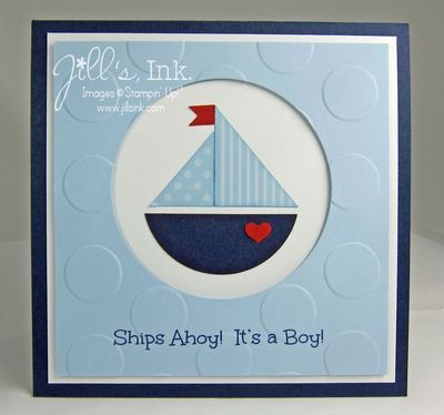 Baby Boy Shower Invitation -- Punch Art Sailboat  www.JillsInk.com