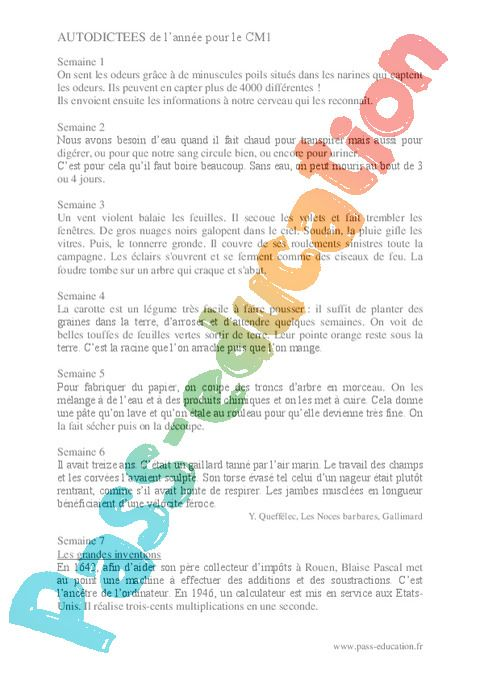 Auto-dictée : CM1 - Cycle 3 - Exercice évaluation révision ...