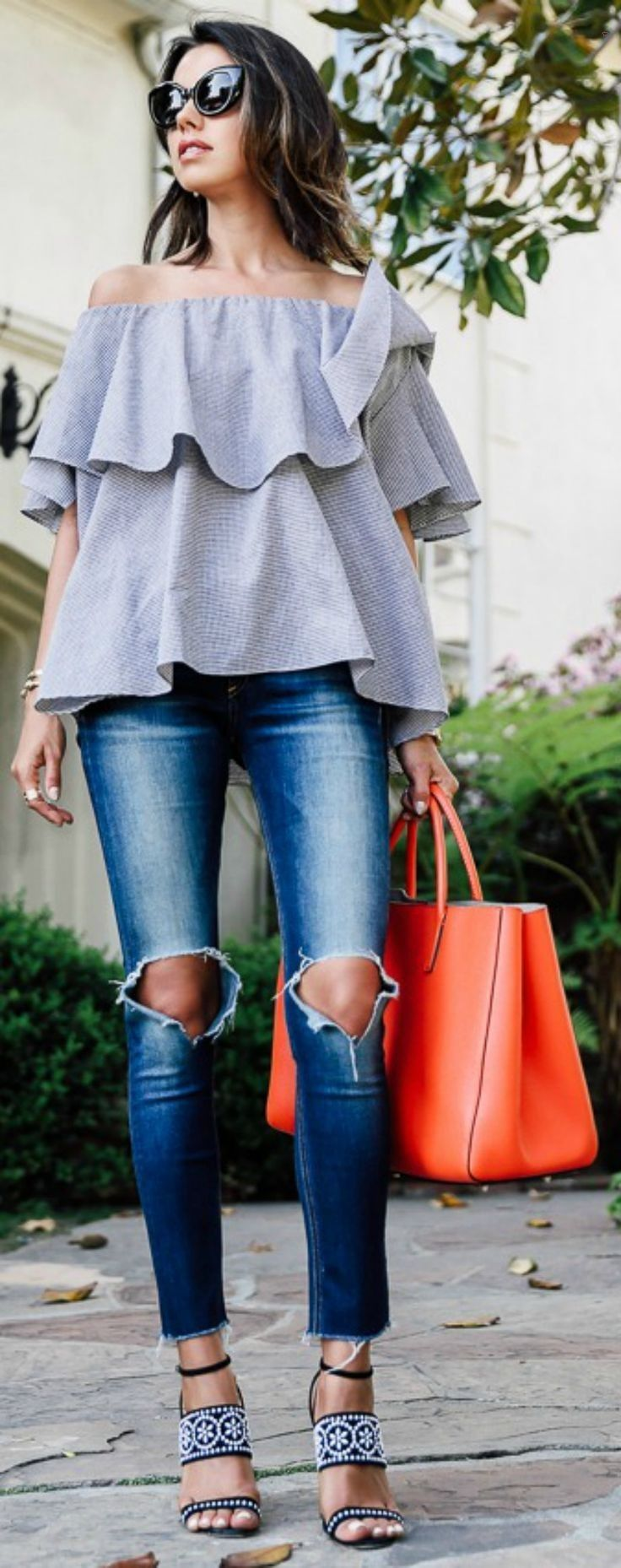 floaty and layered + off the shoulder top + gorgeous + feminine look + spring + summer wear + style + with patterned sandals + Annabelle Fleur Top: Mlm Label Maison, Jeans: Blank Denim, Sandals: Tabitha Simmons... - Street Fashion