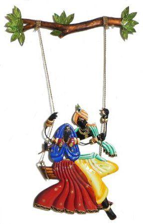 DollsofIndia Radha Krishna on a Swing - Wall Hanging - Wrought Iron