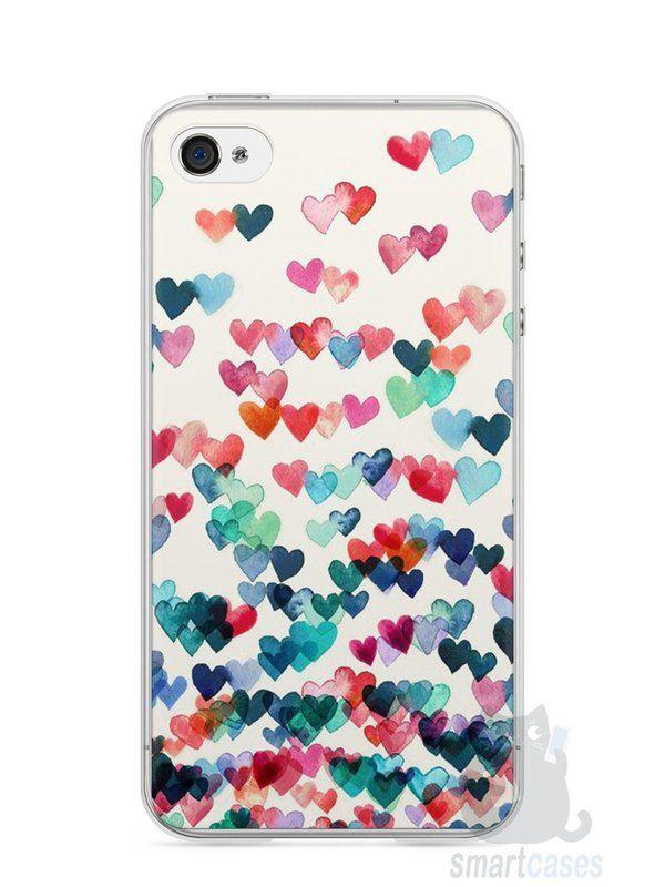 Capa Iphone 4/S Corações Coloridos - SmartCases - Acessórios para celulares e tablets :)