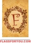 F - Vine / Berries Monogram Garden Flag