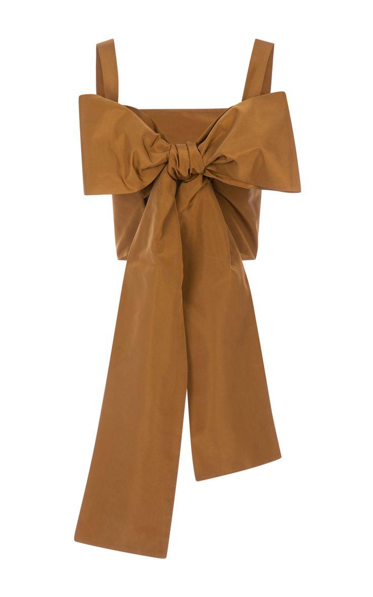 Medium Brown Silk Faille Bow Top by ROCHAS for Preorder on Moda Operandi