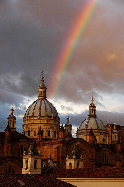 """visitheworld: """"Rainbow above Cathedral of the Immaculate Conception in Cuenca, Ecuador (by marc_guitard). """""""