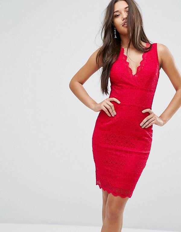 bf5164771fbc Lipsy Lace V Neck Bodycon Dress