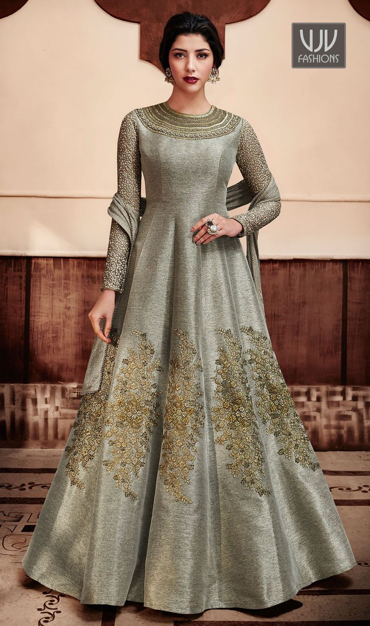 Lavish Grey Color Silk Embroidery Designer Anarkali Suit  Looking amazing with attachment of grey color silk designer anarkali suit. This pretty attire is displaying some fantastic embroidery done with embroidered and patch border work.