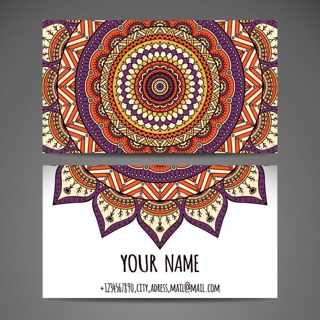 Visitekaartje ontwerp met mandala Gratis Vector