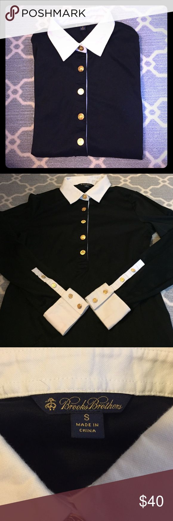 Brooks Brothers Polo Shirt Brooks Brothers black Cotton Polo shirt with gold buttons and white collar. 100% cotton, worn once and in great shape. Brooks Brothers Tops Button Down Shirts
