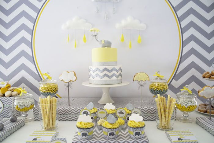 Yellow and Grey Elephant Baby Shower @andersruff