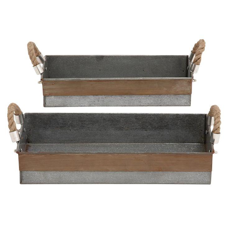 Woodland Imports 27540 Antique And Classy O Galvanized Tray   Set Of 2