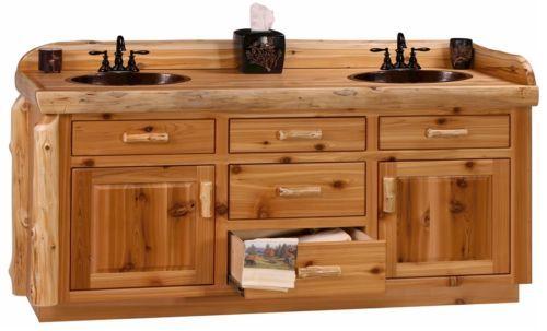 Log Cabin Lodge Bathroom Vanity Cabinet