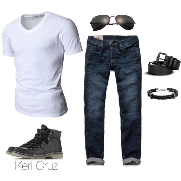 Casual Men's Fashion by keri-cruz on Polyvore featuring polyvore, fashion, style, Hollister Co., Ray-Ban, Burberry, Doublju, Topman, Bernard James and clothing